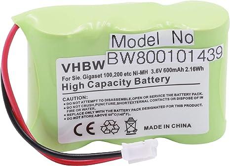Batería NiMH 600mAh 3.6V, para Siemens GIGASET 100, 200, A1, A100, T11, es un Recambio de la Original C39453-Z5-C193 / V30145-K1310-X147: Amazon.es: Electrónica