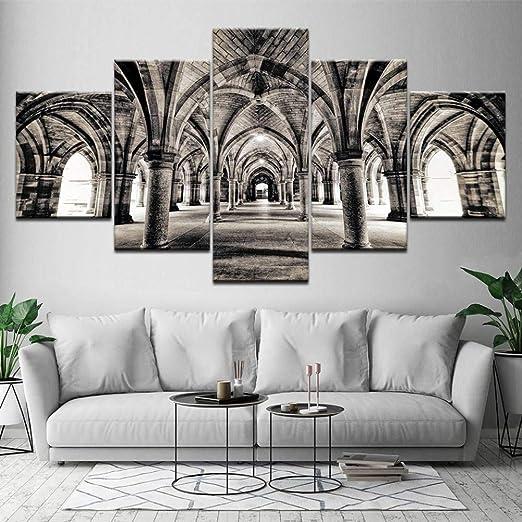 EXQART Pintura en Lienzo en Blanco y Negro Arco de la Puerta ...