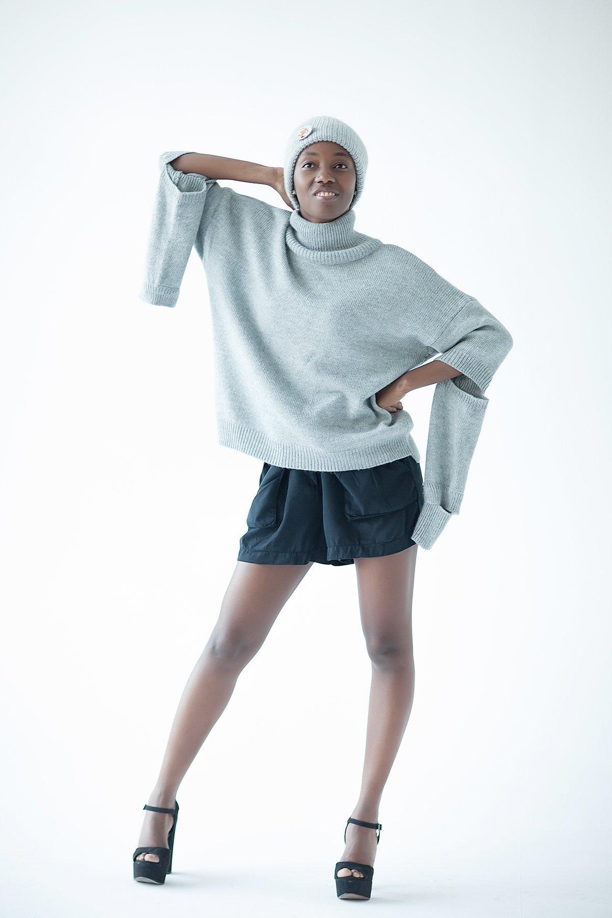 Alpaca sweater Gray oversized sweater Gray turtleneck pullover Designer knitted sweater Oversized womens knitwear Alpaca sweater