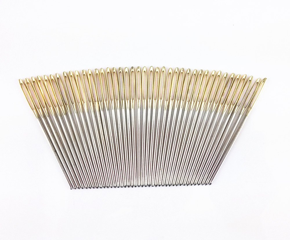 yueton 40pcs 2.7 inch Metal Large Eye Blunt Needles Yarn Needles for Knitting Crochet Projects (Gold End) Blovess 4336937098