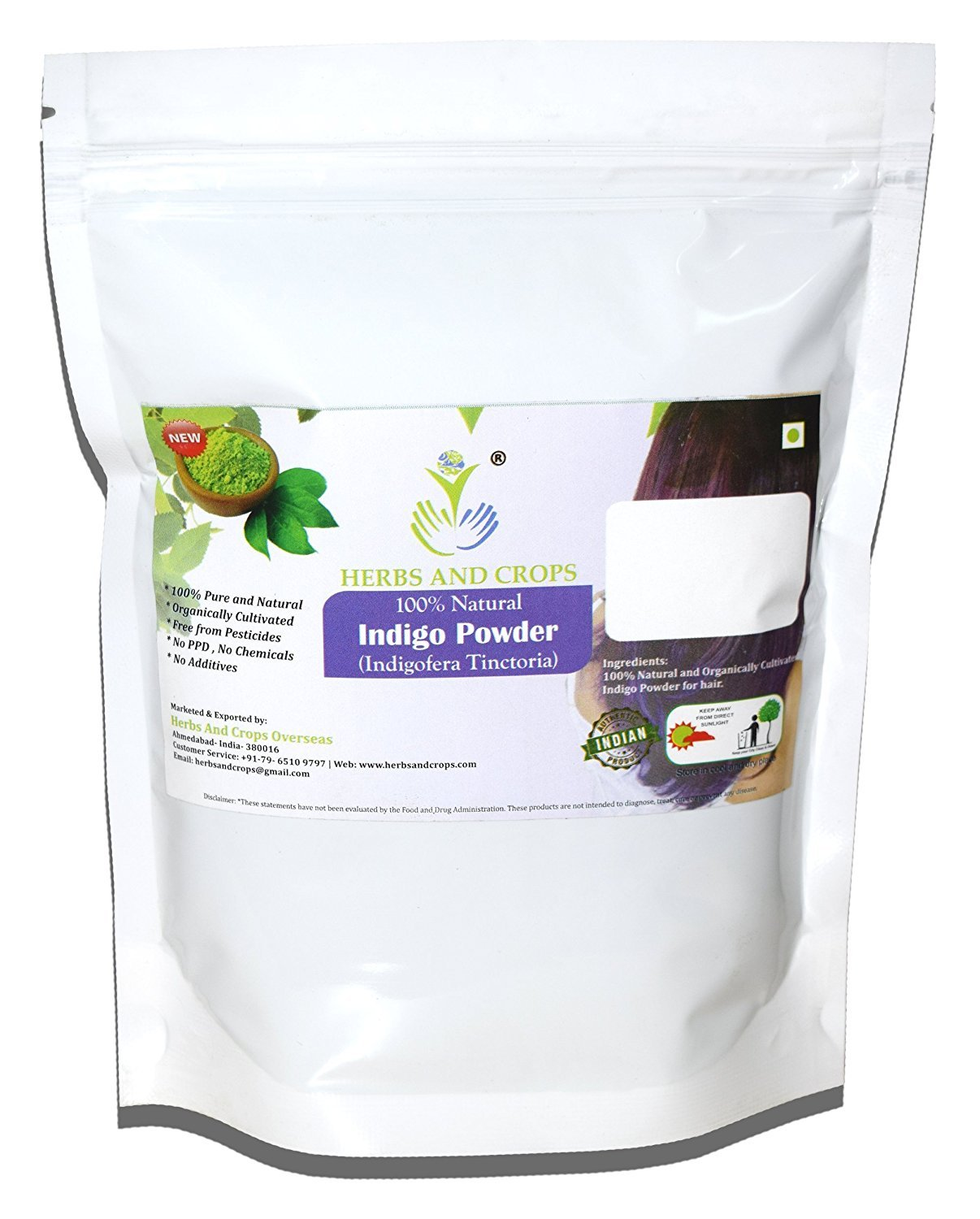 Herbs And Crops 100% Pure Natural Organically Grown Indigo Powder- For HAIR (227g / (1/2 lb) / 8 ounces)