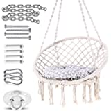 Ohuhu Hammock Chair Macrame Hanging Chair Swing with Hanging Hardware Kit, Cotton Rope Macrame Hammock Swing Chair, 265…