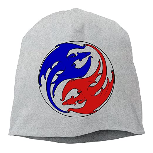 e8028ffe5d1 Amazon.com  Fashion Solid Color Yin Yang Symbol Dragon Logo Turtleneck Cap  for Unisex Ash One Size  Clothing