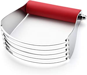 Spring Chef Dough Blender, Top Professional Pastry Cutter with Heavy Duty Stainless Steel Blades, Large Size, Red