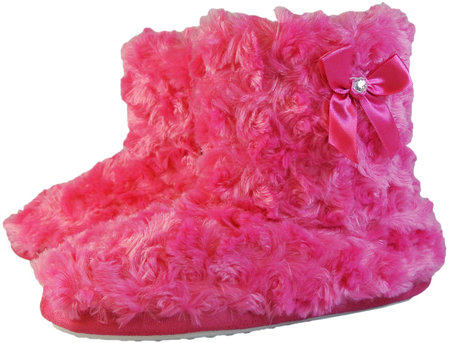 Womens House Slippers Boot Style Rose Swirl Plush with Bow