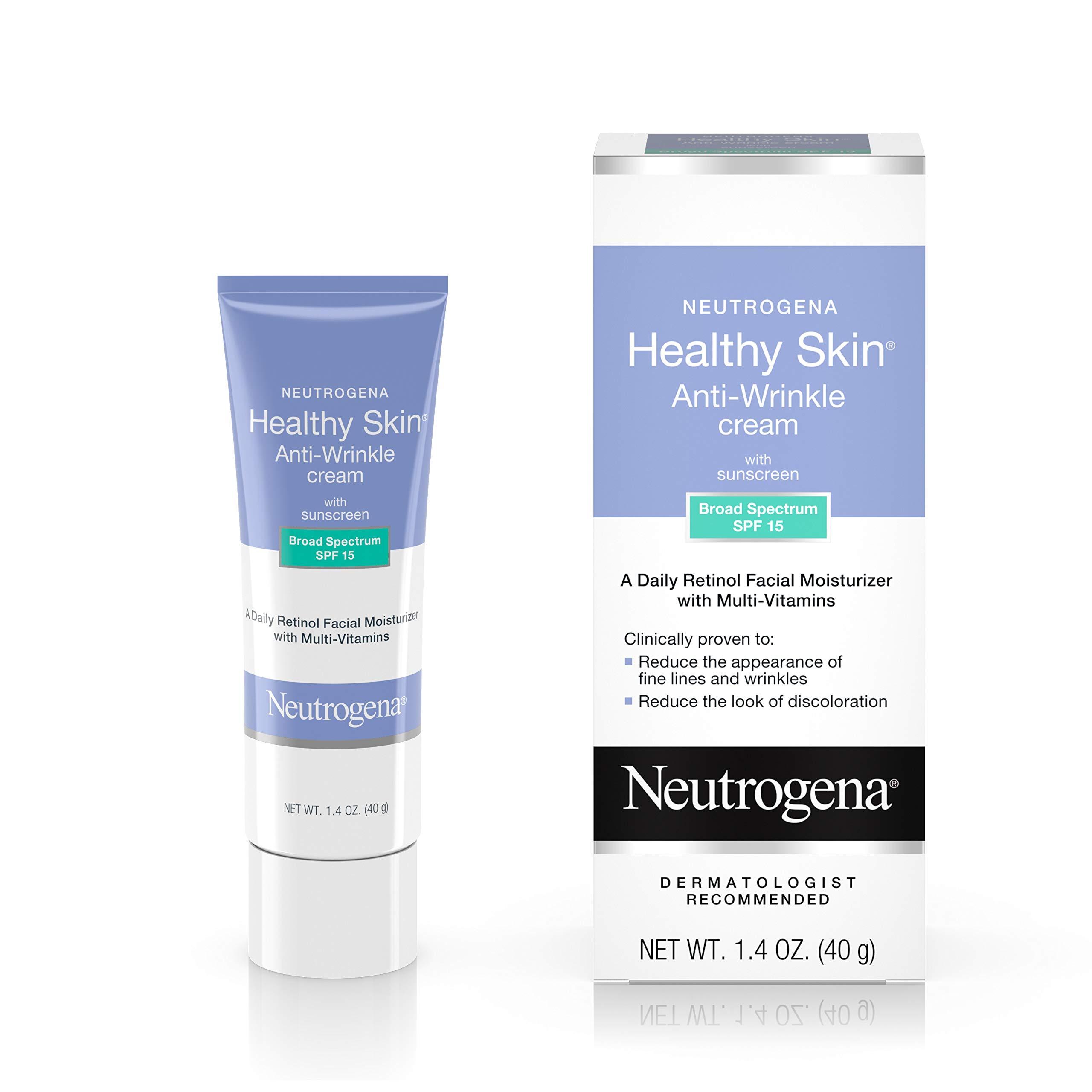 Neutrogena Healthy Skin Anti Wrinkle Retinol & Vitamin E Face & Neck Cream Moisturizer with SPF 15 Sunscreen, Oil-Free - Retinol, Green Tea, Glycerin, Vitamin E, Vitamin A & Vitamin B5, 1.4 oz by Neutrogena