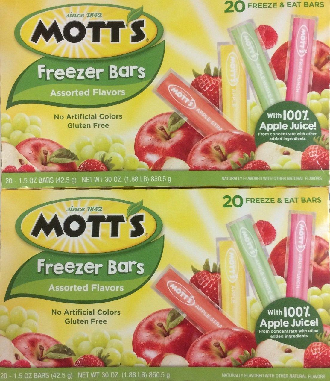 Mott's Freezer Juice Bars - Freezer Bars--CHOOSE QUANTITY/SIZE BELOW ((40) 1.5 Juice Bars 2/20ct boxes)