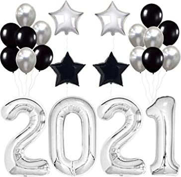 Amazon Com 2021 Balloons For Nye Decorations Large 40 Inch Silver And Black New Years Eve Party Supplies 2021 Happy New Year Decorations 2021 Graduation Decorations 2021 2021 New Years Decorations Toys Games