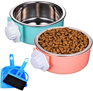 HERCOCCI 2 Pack Crate Dog Bowl, Removable Stainless Steel Pet Cage Hanging Food Bowls and Water Feeder Coop Cup with Bolt Holder for Cats, Puppy, Rabbit, Birds, Ferret and Small Animals