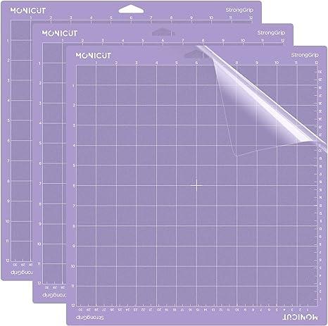 Monicut 12x12 Cutting Mat for Cricut Explore OneAirAir 2Maker Standardgrip, 3 Pack Adhesive Non-Slip Flexible Square Gridded Vinyl Craft