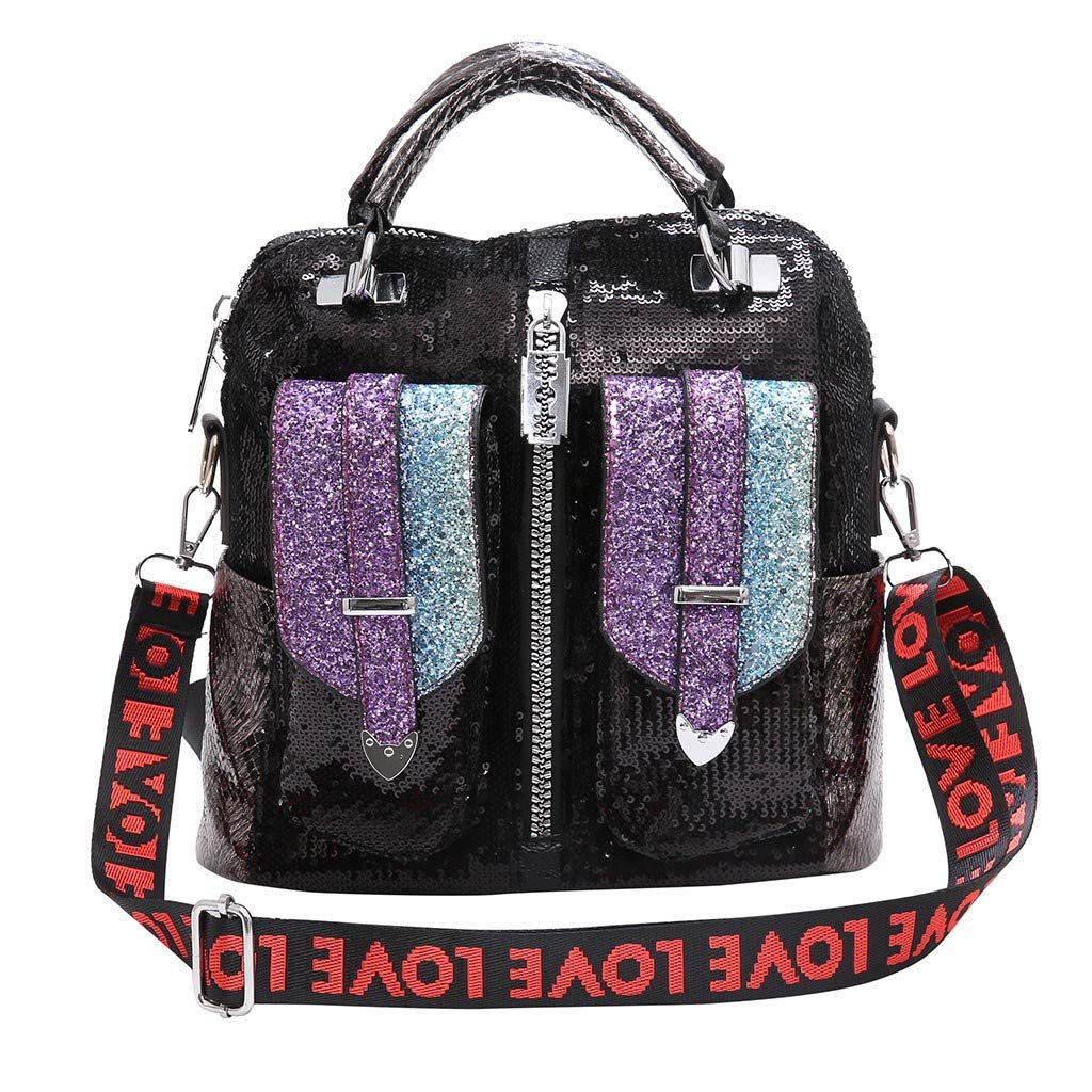 Lefthigh Women's Europe and United States Sequins Large Capacity Casual Shoulder Bag Backpack Multicolor Handbag Love by Lefthigh