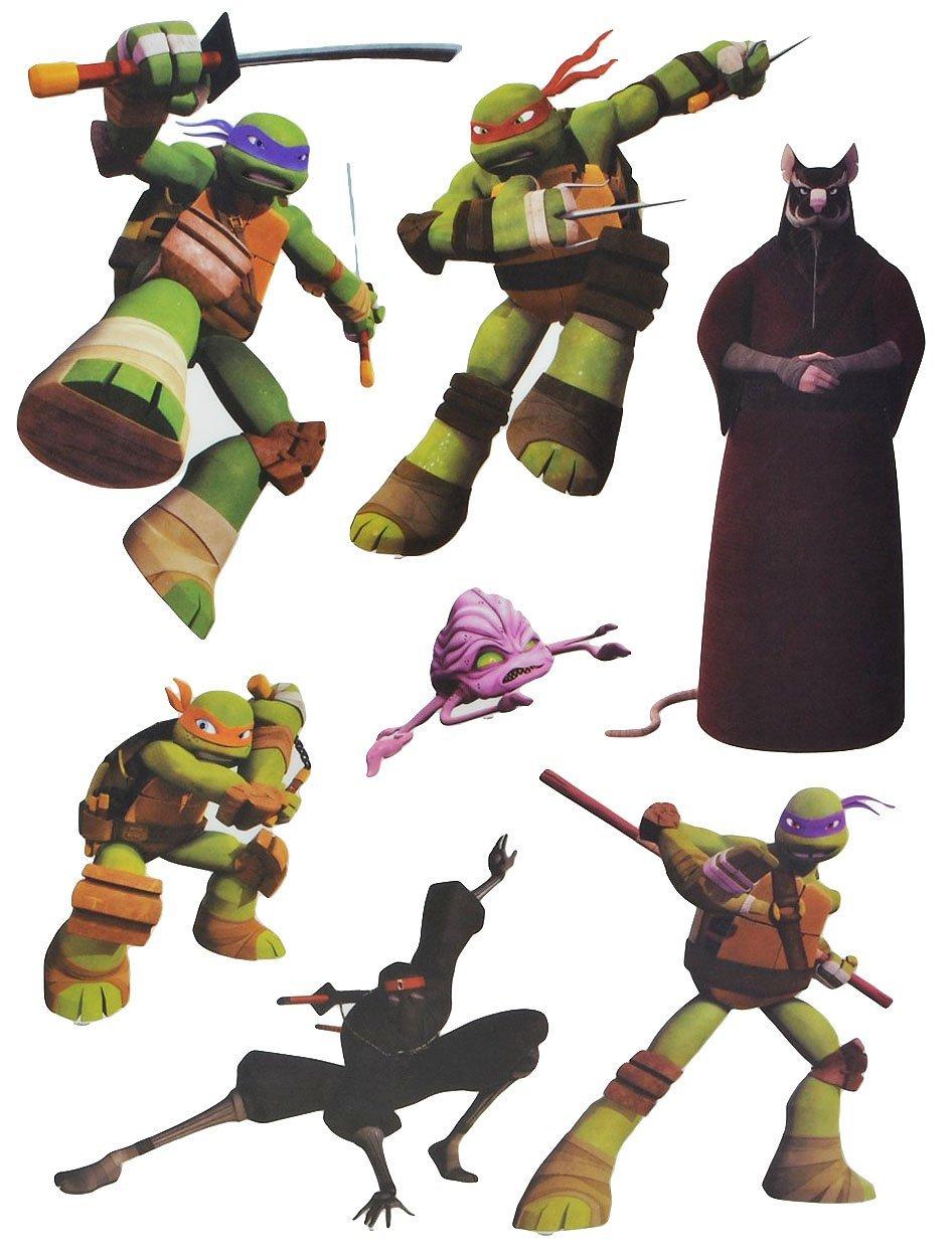7 tlg. Set Fensterbilder - Teenage Mutant Ninja Hero Turtles - Sticker Fenstersticker Aufkleber - selbstklebend + wiederverwendbar - Fensterbild / z.B. für Fenster und Spiegel - Fensterdeko Fensterfolie Kinderzimmer Deko Kinder Jungen Schildkröten Kinder-l