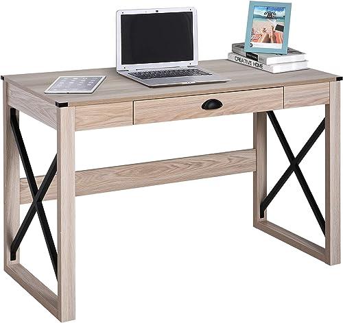 Best modern office desk: HOMCOM Industrial Retro Style Wooden Modern X-Frame Particleboard Study Desk w/1 Drawer Home Office Desk Oak Function Desks
