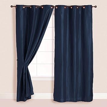 2x Panels Pair Faux Suede Metal Grommet Curtain Drape Set Washable Navy Blue 54 X