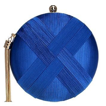 817a5dd1523 SHISHANG Bolsa de Noche Femenina Bolsa de Fiesta de Lujo de Seda Europeo y Americano  Bolsa de Noche Bolso de Fiesta ZYXCC (Color   Azul)  Amazon.es  ...