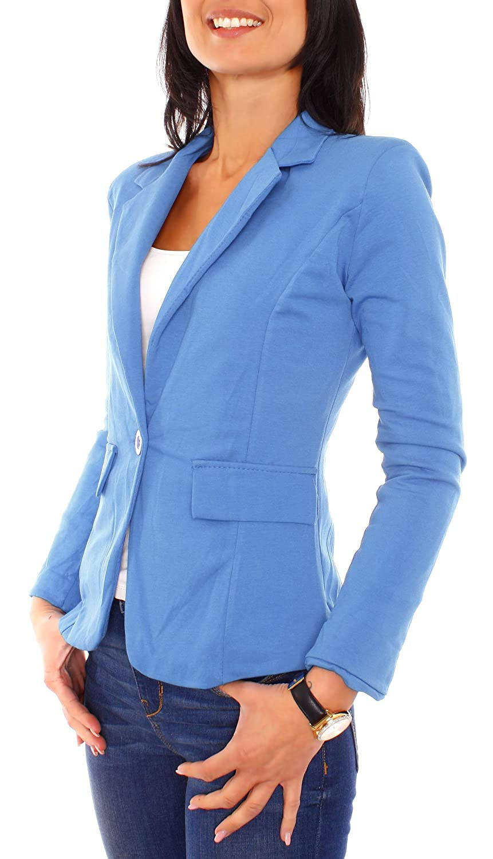 Easy Young Fashion Damen Jerseyblazer Gef/üttert
