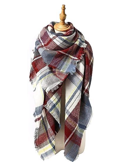 Zando Thick Plaid Blanket Scarf Big Fall Scarves Shawl Soft Warm Wrap Scarf  Tartan Cape Cozy 6d897901b