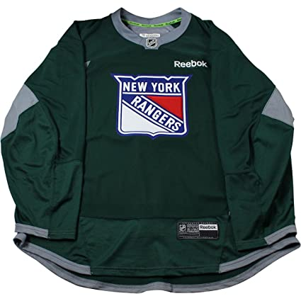 18470dea8 Amazon.com: New York Rangers Forest Green Issued Shield Practice Jersey  (Size 52): Sports Collectibles