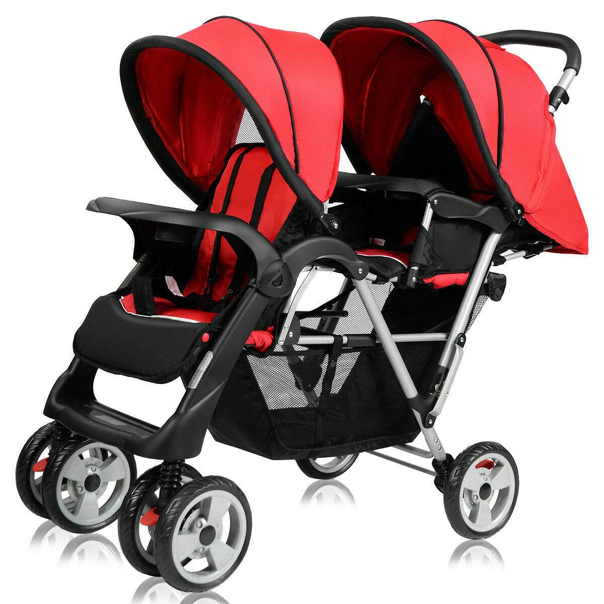 Cozinest Foldable Twin Baby Double Stroller Kids Jogger Travel Infant Pushchair Red