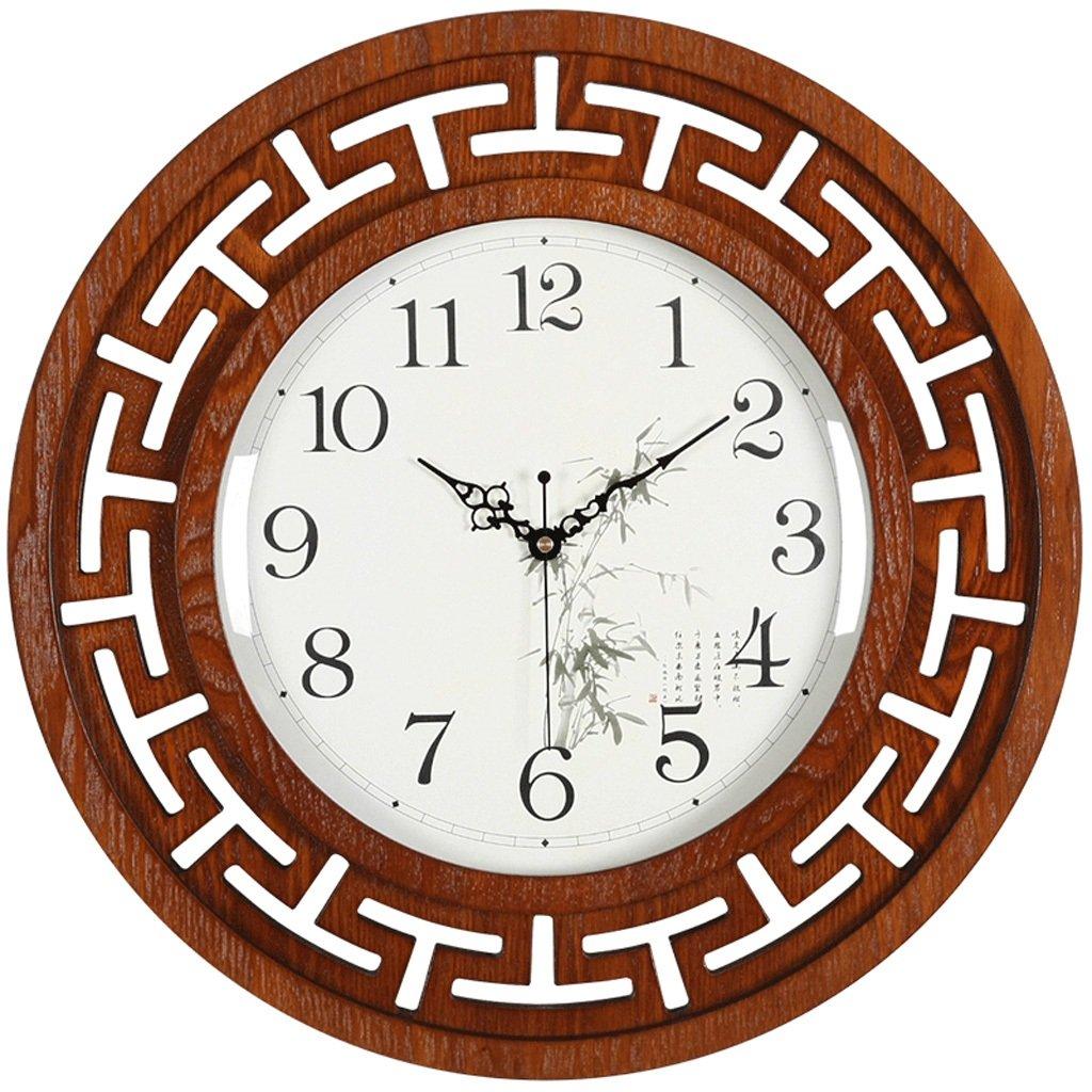 中国スタイルのシンプルな木製のフレームリビングルームの寝室の壁時計、パーソナライズされた単一の壁にマウントされた高精細なガラス研究時計、金属ポインタのインク塗装クロックミュートの壁時計 (Color : White) B07FMLFPSH White White
