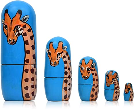 N//A 5Pcs Cartoon Animal Nesting Doll Hand Painted Figurine Wooden Stacking Doll Gift