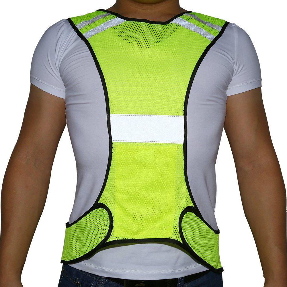 Dilwe Reflektierende Weste Verstellbare Warnweste Reflektierende Weste mit Tasche f/ür die Sicherheit bei Nacht Verkehr Parkplatz Laufen Joggen