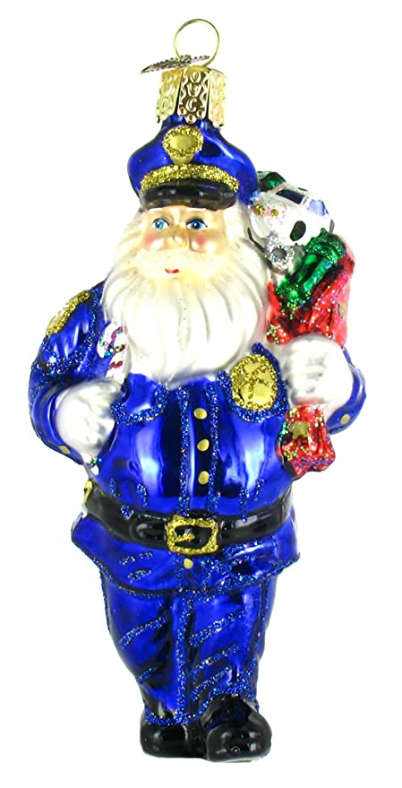 old world christmas police officer santa glass blown ornament - Police Officer Christmas Decorations