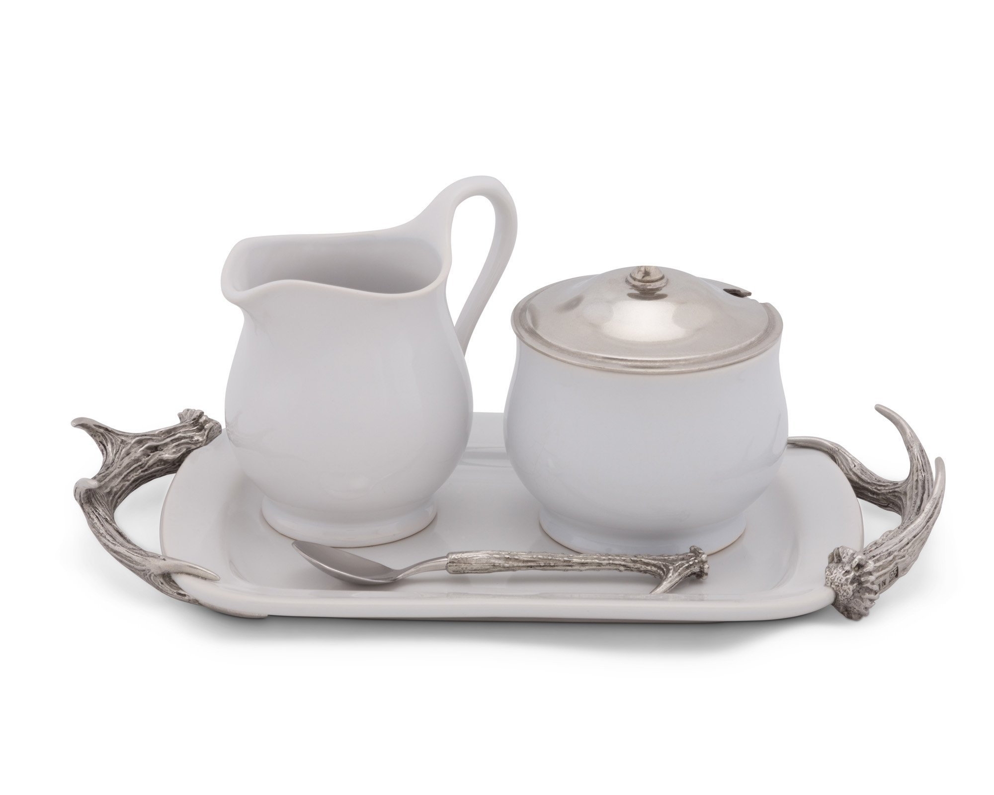 Vagabond House Stoneware Creamer Set with Pewter Antler Handles 12.25'' Long Tray 5 pieces