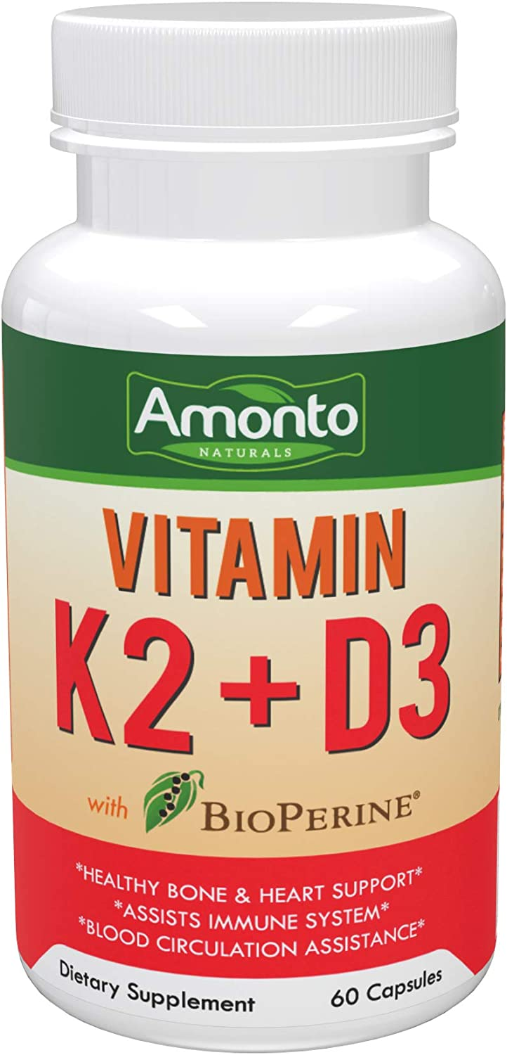 Amonto Naturals Vitamin K2 + D3 with BioPerine Dietary Supplement 60 Capsules - Healthy Bone & Heart Support - Assists Immune System - Blood Circulation Assistance