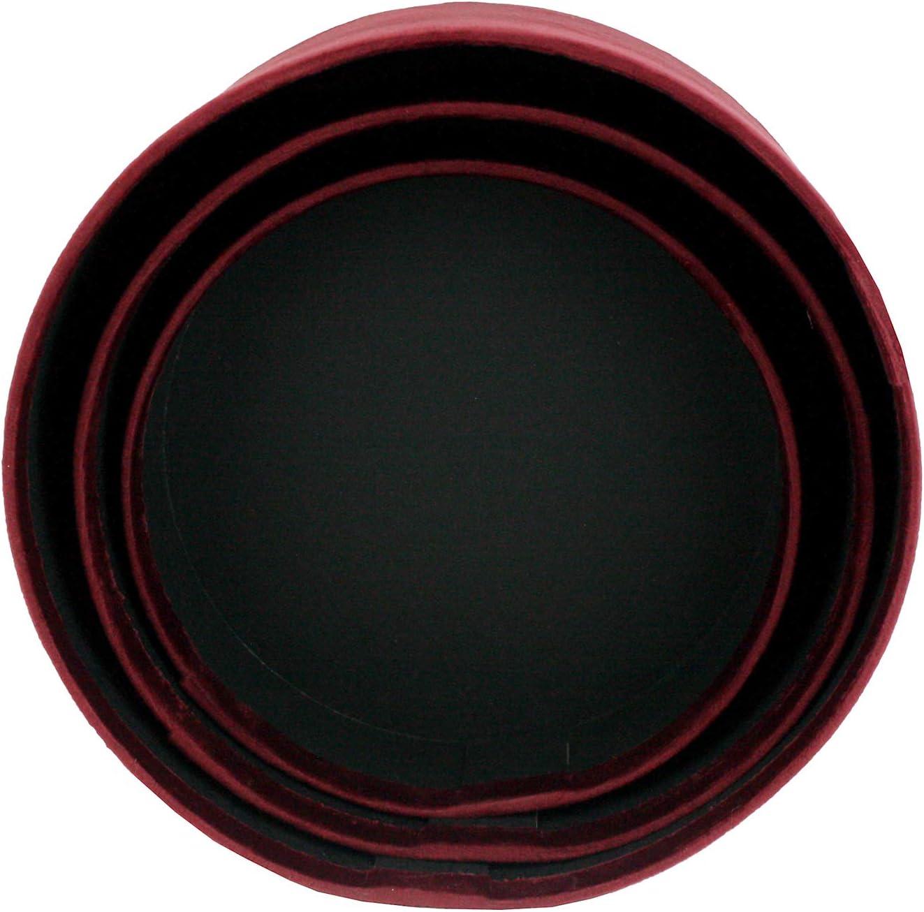 Emartbuy Set di 3 Confezione Regalo Rigida di Lusso in Velluto a Forma di Rotonda Scatola Regalo Bordeaux Con Interno Nero e Nastro Decorativo a Strisce