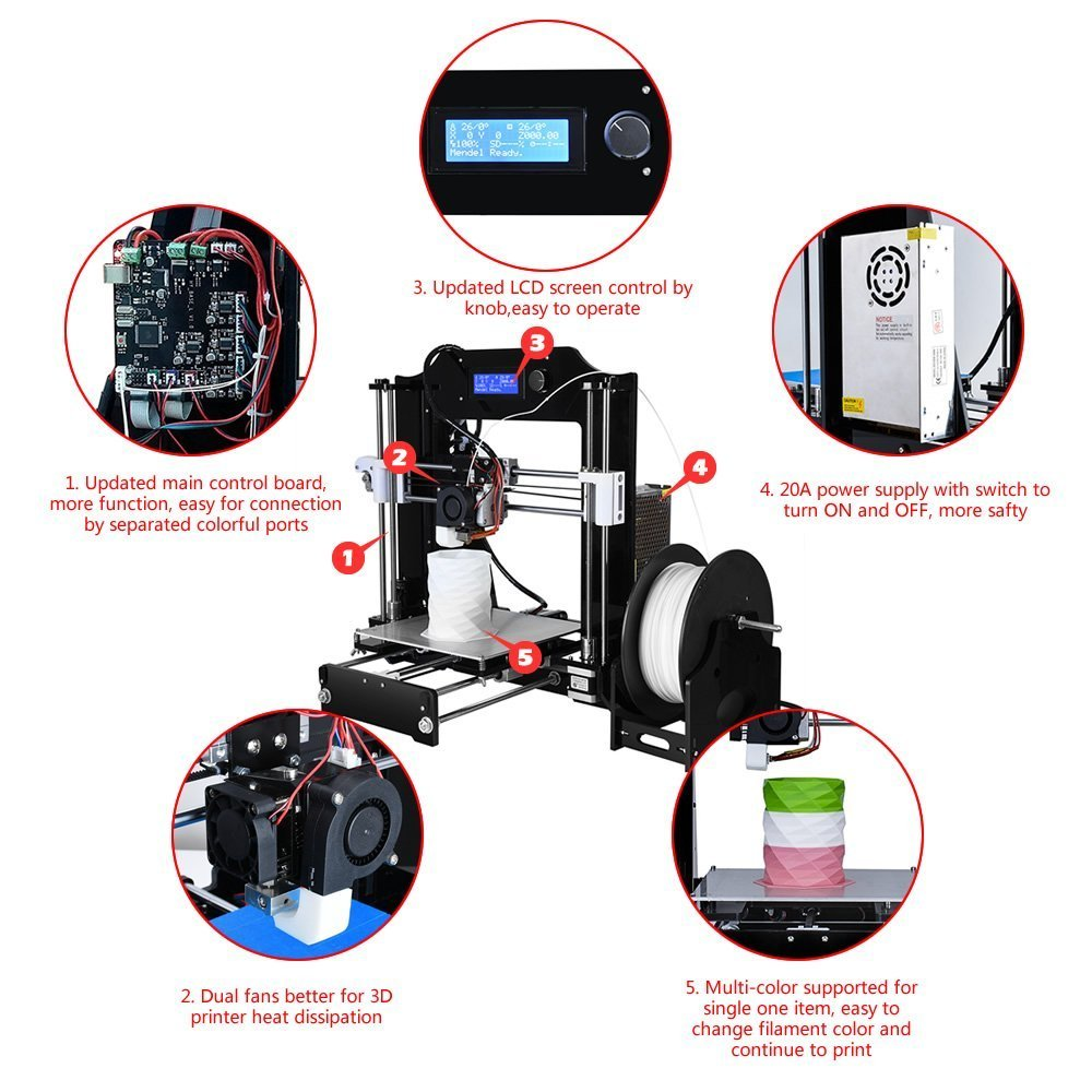 Alunar 3d Printer Diy Prusa I3 Kit Mini Self Assembly Desktop Fdm Mendel Circuit Board Spacer Print Models Printing Machine With Heated Build Plate Sd Card And Pla Filament