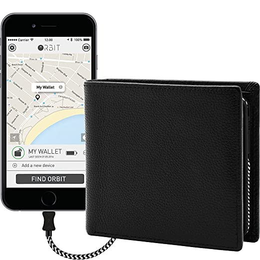 Image result for Orbit Mens Leather Tracking & Phone Charging Slim Bifold Wallet By HButler