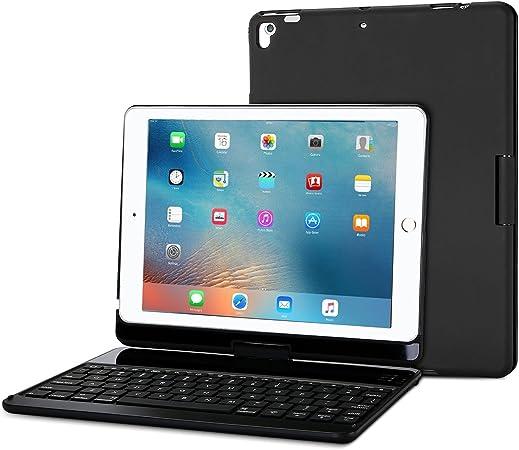 ProCase Funda con Teclado Inglés para iPad 9,7 Pulgadas 2018/2017, Rotación de 360 Grados Tapa con Teclado Americano Inalámbrico para Apple iPad 9,7
