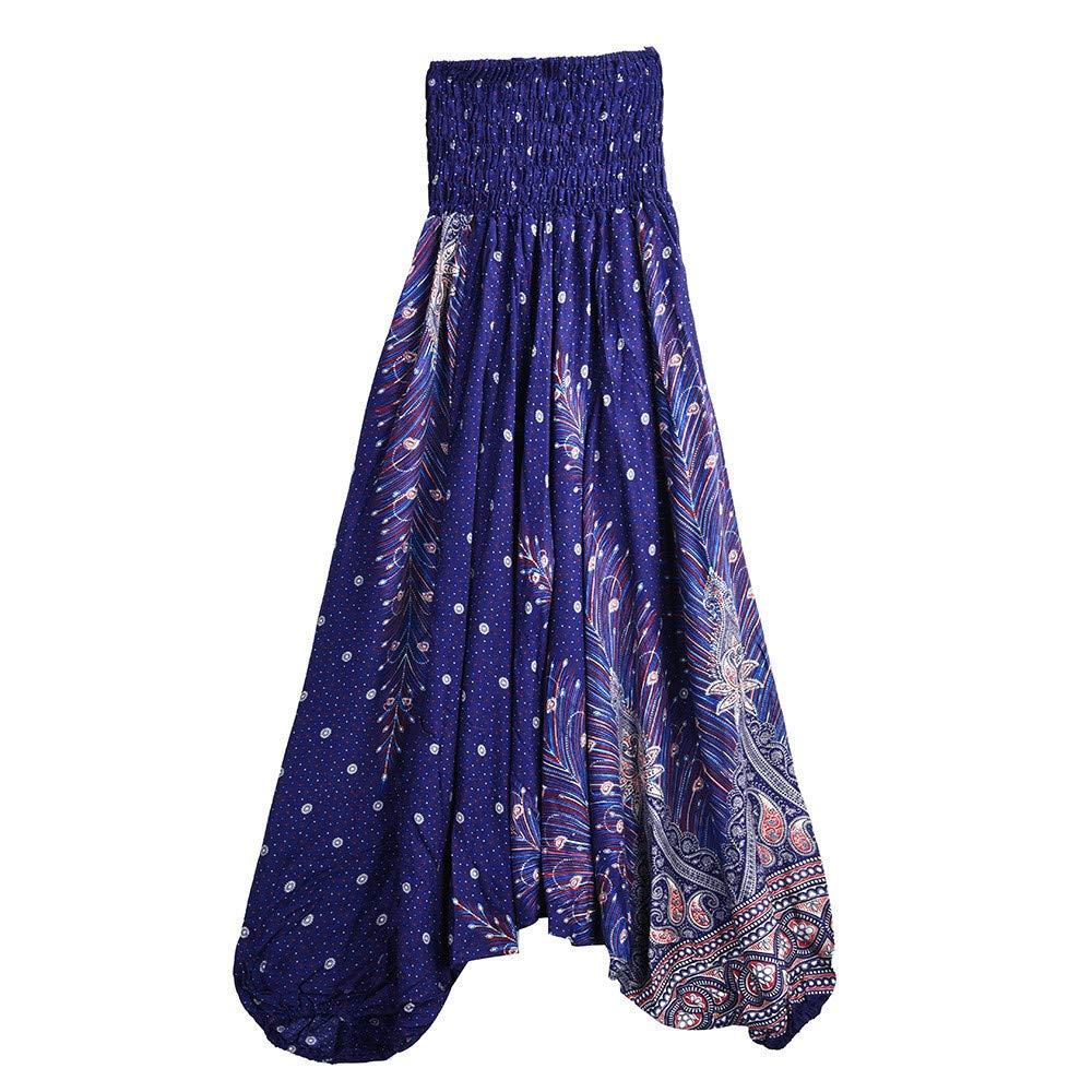 Smocked Harem Pants Hippie Casual Print Yoga Baggy Boho Pants by Alalaso Navy