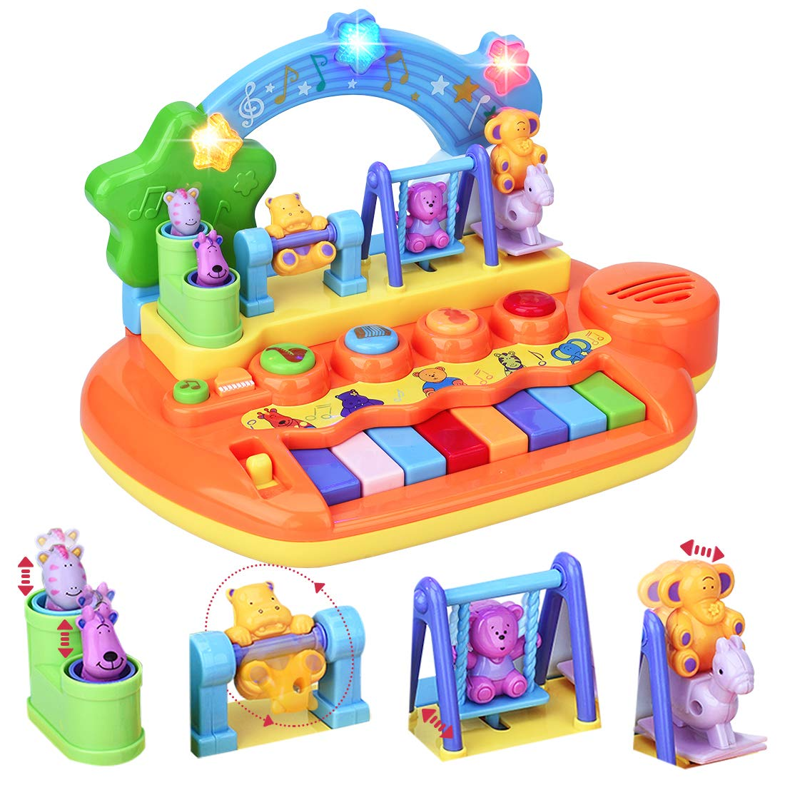 Forstart Learn-to-Play Musical Toy Piano with 8 Keys Keyboard Animal Playground LED Light Early Education Instrument Favorites Busy Babies Toddlers Preschoolers Learning