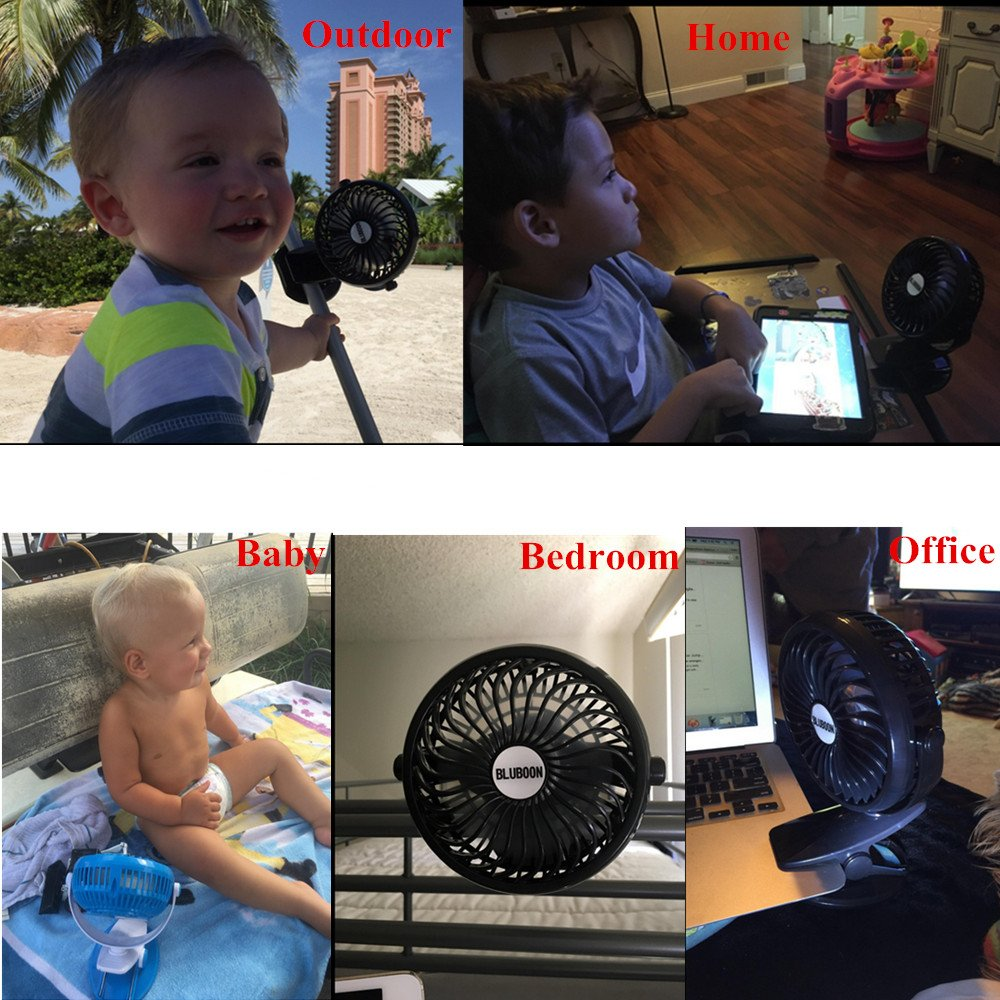 BLUBOON Clip on Fan Battery Operated Fan Portable for Baby Stroller 5'' (Two Batteries, one for Backup) by BLUBOON (Image #7)