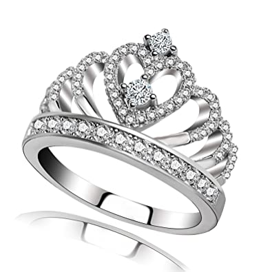 amazon com princess queen crown rings for women girl heart shaped