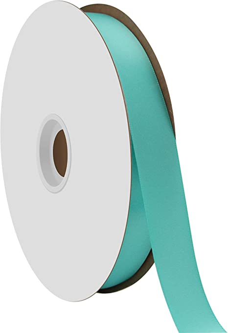 "5 Yards Happy Birthday Teal Double Faced Satin Ribbon 7//8/""W"