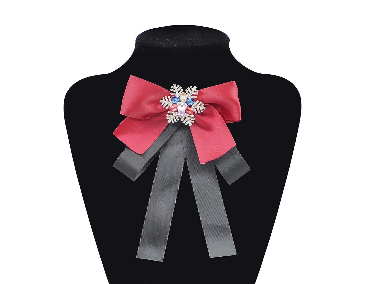 Luxury Rhinestone Printed Fabric Bow Tie Fashion Corsage Ornament Bow Brooches Black Pearl Pendant+Black Fabric//BV20