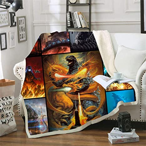 Godzilla Sherpa Blanket Sofa Warm Couch Quilt Cover Throw Blanket Cloak Gifts