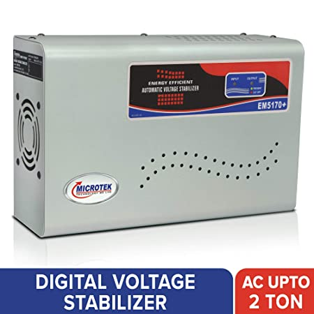 Microtek EM5170+ Automatic Voltage Stabilizer for AC up to 2 ton  170V 270V , Metallic Grey  ndash; LED Display, Wall Mounted