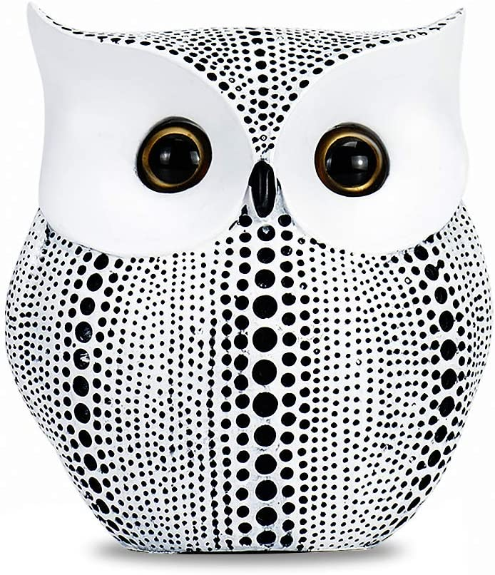 GoYonder Owl Decor Statue Sculpture for Home, Office, Bookshelf,TV Stand Decoration Resin Animal Sculpture Minimalist Style Crafts Gift for Friend or Family, Animal Lovers White
