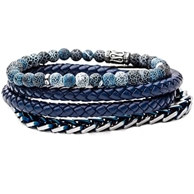 ca4a5aa6fd057 Amazon.com: Tribal Hollywood Blue Oasis Mens Bracelet Stack with ...