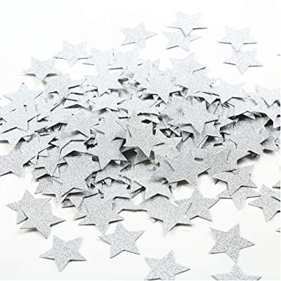 MOWO Glitter Star Paper Confetti Wedding Party Decor and Table Decor 1.2'' in Diameter (silver glitter,200pc): Toys & Games