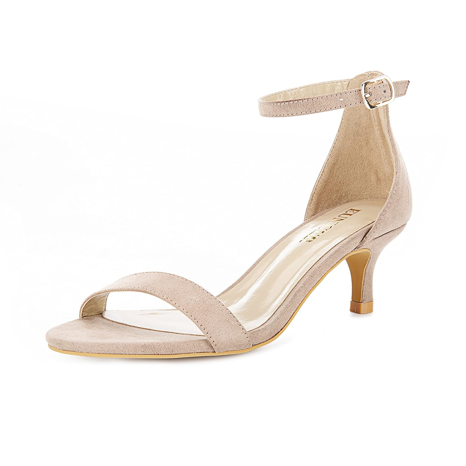 Super discount look good shoes sale complimentary shipping Eunicer Women's High Kitten Heel Stiletto Pump Sandals with Ankle Strap  Wedding Party Shoes (Half Size Large)
