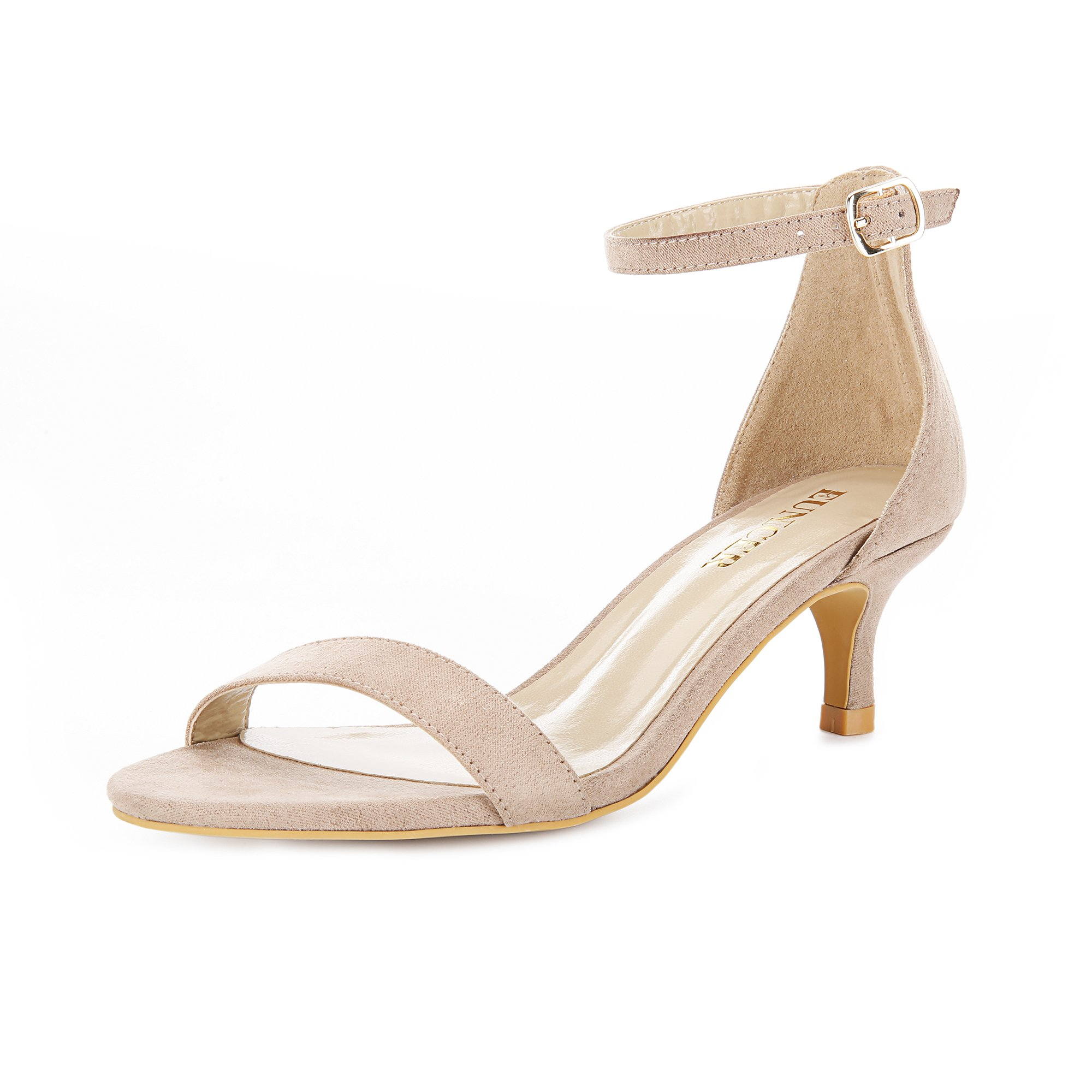 Eunicer Women's Open Toe Ankle Strap Low Heel Stiletto Sandals Working Party Shoes (Nude)