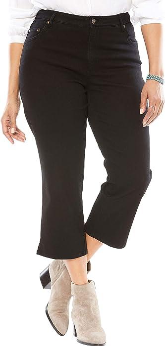 3e98354ac24 Woman Within Plus Size Petite Capri Stretch Jean - Black Denim