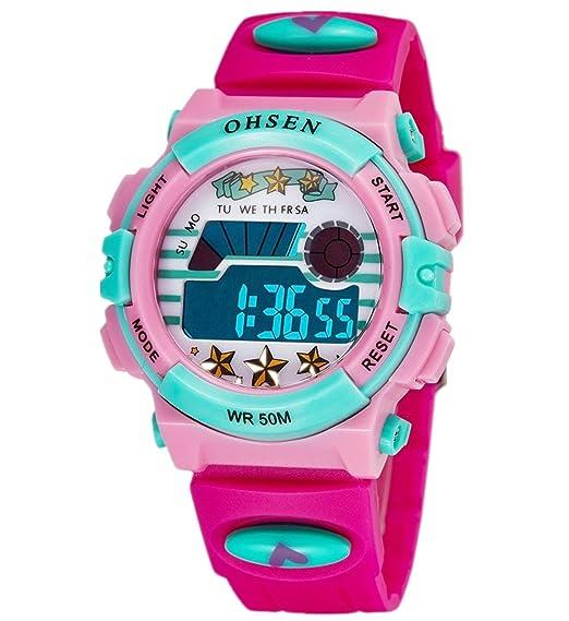 Infantil Niños Niñas Reloj Deportivo Digital Resistente al Agua Multifunción Led Al aire libre Reloj De Pulsera Rose: Amazon.es: Relojes