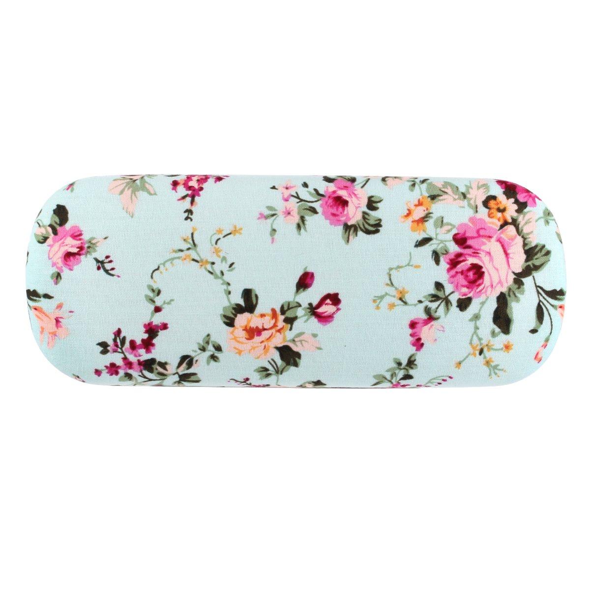 EZESO Fabrics Floral Retro Light Portable Eyeglasses Case (2 pcs blue+pink) by Ezeso (Image #5)