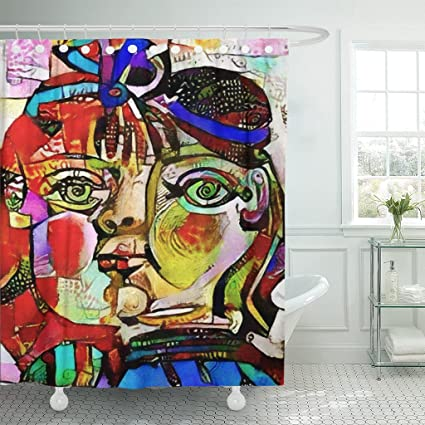 TOMPOP Shower Curtain Alternative Reproductions Of Famous Paintings By Picasso Applied Abstract Waterproof Polyester Fabric 60
